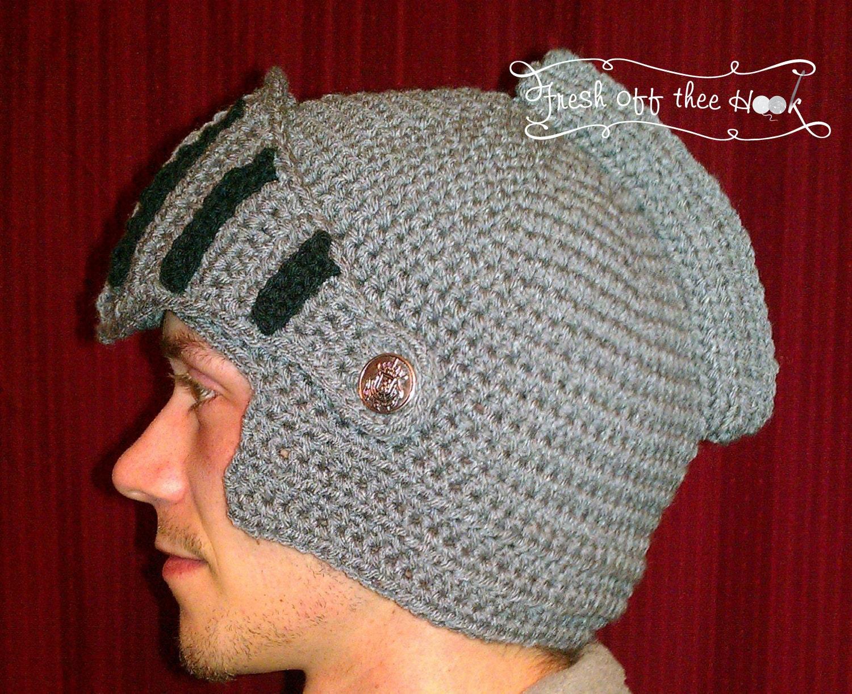Ritter Helm Hut häkeln mit beweglichen Visier Kind