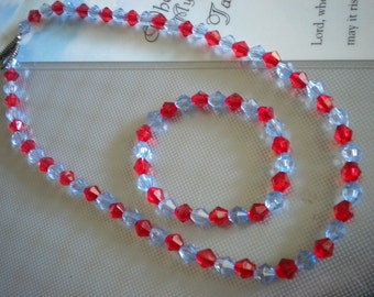 Girl's Necklace Set Light Blue Red Acrylic Bicones Stretch Bracelet 14 Inch Necklace Junior Bridesmaid Flower Girl