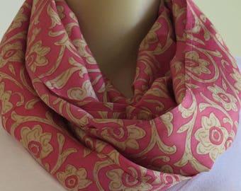 Pink Infinity Scarf, Silk Scarf, Christmas gift