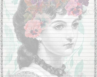 JOURNAL Paper DOWNLOAD Original Lined Lady Stationery - Instant Digital Print - Scrapbook Paper Letter Writing Digital Page Journaling #S105