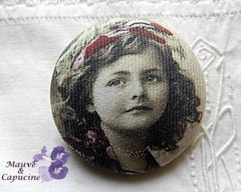 Button out of fabric, retro girl photo, 32 mm / 1.25 in