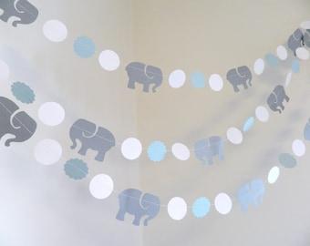 Elephant baby shower Decorations Boy / Blue Elephant Birthday Decoration / Gray Elephant Banner / Baby Shower Decor Blue / Custom colors