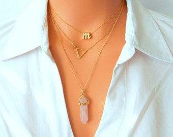 Tiny Triangle Necklace, Minimalist Necklace, Gold Triangle Necklace, Triangle Necklace, Long Necklace, Simple Necklace, Bridesmaid Gift