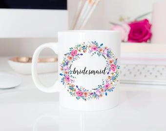 Bridesmaid Mugs | Floral Bridesmaid Proposal Gift | Bridesmaid Gift Box | Bridal Party Gift | Spring Wedding Mugs | Gift for Wedding Party