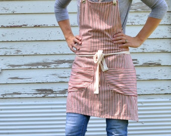 SALE Cotton Ticking Apron No. 3 Made to order allow 7 to 10 business days before shipping