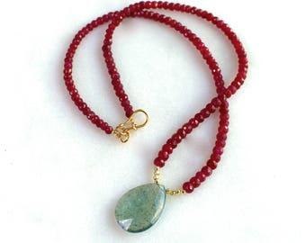 Moss Aquamarine, Sparkling Red Ruby,  22kg vermeil accented Simple Focal Necklace...