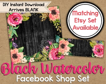 Black Watercolor Facebook Shop Set - DIY Facebook Timeline - Watercolor Timeline Cover - Facebook Shop Banner - Facebook Shop Graphics
