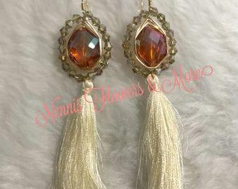 Gold Wired Earrings w/Tassel