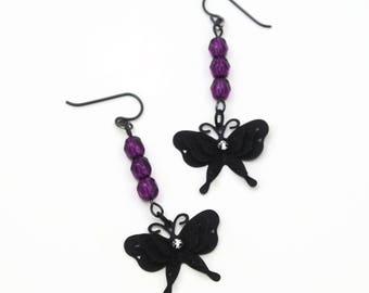 Black And Purple Butterfly Earrings, Rocker Chic, Butterfly Jewelry, Goth Chic