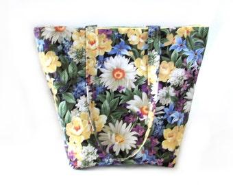 Floral Garden Tote Bag, Cloth Purse, Handmade Handbag, Daisy Flowers, Purple, Yellow, Green, Fabric Bag, Shoulder Bag