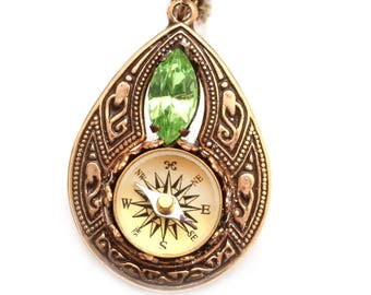 Tear Drop Crystal Pendant, Tear Drop Necklace, Teardrop Necklace, Compass Necklace, Working Compass