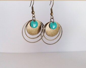 Earrings graphic bronze circles and round turquoise enamel