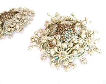 Dancer Gold Nipple Pasties With Rhinestone,Mint Nipple Pasties With Gold Lace,Nipple Jewelry With Gold Flower Lace,Body Jewelry