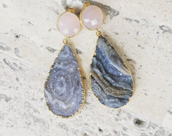 Gold Plated Raw Chalcedony Geode and Pink Earring