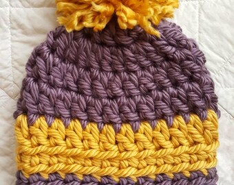 READY to SHIP LSU Inspired Handmade Chunky Crochet Beanie