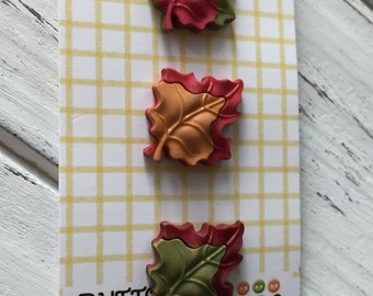 """Maple Leaf Buttons, Fall Friends Collection """"Maple Leaves"""" Style FA123 by Buttons Galore, Carded Set of 3, Fall Leaves, Shank Back Buttons"""