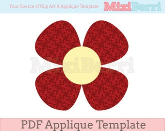 Red Flower 4 Petals Applique Template Instant Download