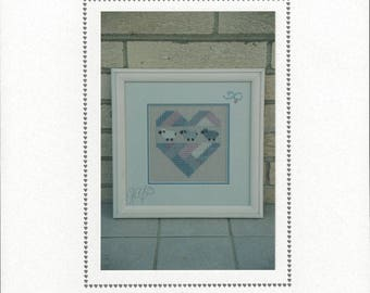 """Clearance - """"Sheep Lover's Heart"""" Counted Cross Stitch Chart by Sekas & Co."""