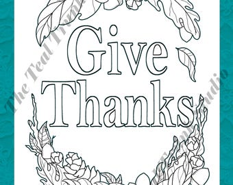Give Thanks Fall Thanksgiving Coloring Page Wall Art