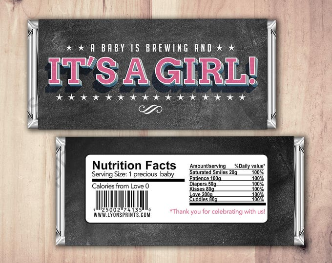 Baby Candy Bar Wrapper – Printable Hershey's Bar Wrapper  – Baby Shower Gifts- Party Favors- Baby is Brewing, shower favor, candy
