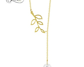 925 Sterling Silver Tree Branch Lariat Necklace, Twig Pendant Y Necklace w CZ, Branch Necklace