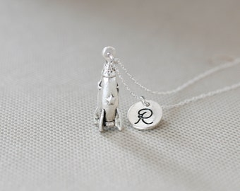Rocket Necklace.Personalized Initial Rocket ship Necklace. gift for friend sister mom her No76
