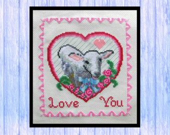 Sweet Valentine Lamb, Original Cross Stitch Chart, PDF Download, Love from Scotland, Sheep, Hearts, Flowers