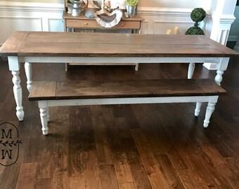 The Amelia Table, Turned Leg Farmhouse Table