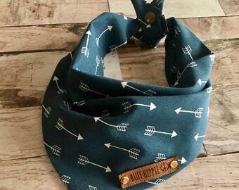 Dog bandana, RuffHippie Dog bandana Blue with white arrows, Boy dog Bandana, Puppy gift, Cute dog Bandana