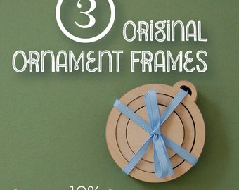 Embroidery Frames for Christmas Ornaments MULTI PACK of 3 DIY wood frame for hand embroidery