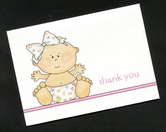 Baby Shower Thank You Cards - Baby Girl - Baby Girl With Heart Diaper - Baby Girl Thank You Cards - Blank Cards - Note Cards - Set of 20