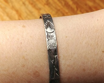 Native American Symbols Etched Sterling Silver Bangle Cuff Bracelet