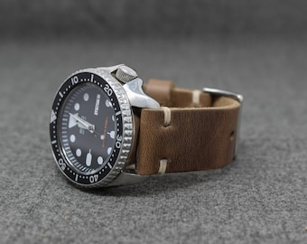 Leather Watch Band | The Hudson Strap |  Horween Natural Brown Chromexcel Watch Strap- Handmade