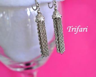 Vintage Trifari Tassel Earrings, Silver Tone, Clip On, Silver Dangle Earrings, Trifari Earrings, Trifari Jewelry, Silver Earrings, 18-130