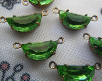 Peridot Vintage Foiled Glass 12x6mm Half Moon Brass Ox Connectors Two Loops 6 Pcs