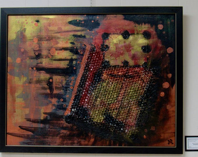 """Framed Mixed Media Abstract Painting """"Interference"""""""