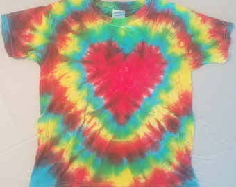 Youth Small Rainbow Heart Tie Dyed T-Shirt
