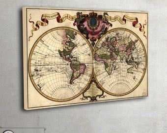 """Vintage World Map - Retro style wall map by Chez Guillaume Delisle Large Fine Art archival print - large art print up to 42"""" x 64"""" - 008"""