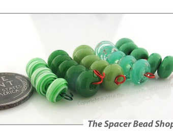 GRACIOUS GREENS HALF Bead Sets Lampwork Spacers Glass Handmade - The Spacer Bead Shop