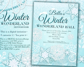 Snowflake party invitation pack of 10 winter wonderland party winter invitation winter party invitation frozen snow party filmwisefo