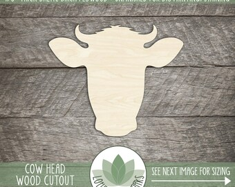 Cow Head Laser Cut Wood Shape, Wooden Cow Head, Farm Animal Shapes, Farmhouse Decoration, Wedding Favor, Party Decoration, Many Sizes