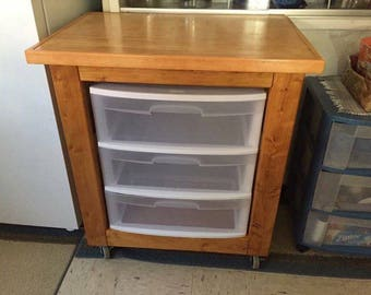 Custom Made Kitchen Utility Cart with Caster Wheels: OAHU, HAWAII Sales only