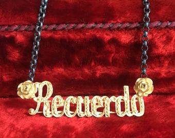 Mourning Necklace Spanish 18k Gold Plated Silver Recuerdo Memento Mori Jewelry Art Nouveau