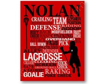 Lacrosse typographie affiche Print, LAX équipe cadeau, cadeau Lacrosse Coach, Lacrosse équipe cadeau, crosse Art Print, personnalisé toile Lacrosse