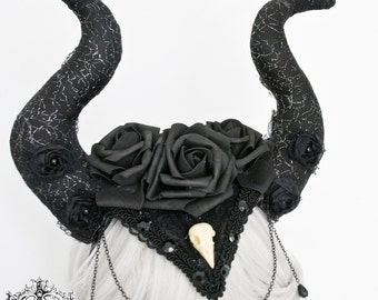 Gothic Maleficent horn and flower headpiece-WGT headpiece-gothic headpiece-headband-horn headpiece-ready to ship