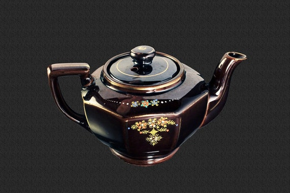 Coronet Teapot, Redware, Moriage, Japan, Individual, 1 Cup, Collectible, Small Teapot, Floral Pattern