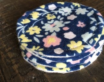 Cotton rounds, washable cotton cleansing pads, navy blue floral