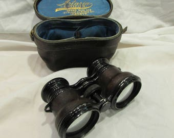 "Opera Glasses with Leather Case, Leather Wrapped Handles, ""Artaria Optician"", 1930's or 1940's"