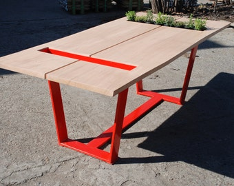 ON SALE! Red Oak Dining Table: Live Edge Slab Oak Top on Steel Legs