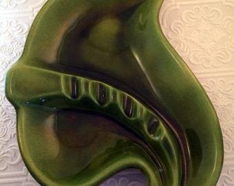 Vintage Sequoia Ware USA Pottery Leaf Ashtray - Avocado Green Tiki Style 1960s